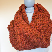 Chunky Rust Knit Cowl, READY TO SHIP, Herringbone Knit Cowl, Fall Scarf,
