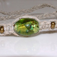 Ankle Bracelet Friendship Type Tie On Hemp Anklet with Green Gold Foil Art Glass Bead