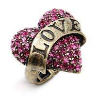 Betsey Johnson &#x27;Lady Luck&#x27; Heart Stretch Ring