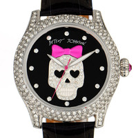 Betsey Johnson 'Bling Bling Time' Skull Dial Leather Strap Watch