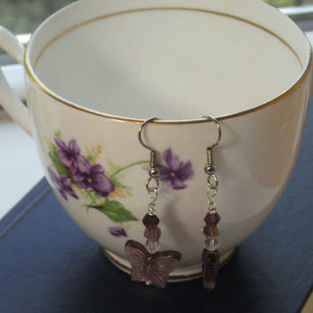 Purple Butterfly Earrings, Lupus Awareness Earrings, Fibromyalgia Awareness Earrings