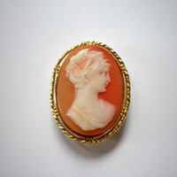 Vintage Cameo Brooch // Elegant Gold and Rose Pin with Greek Cameo