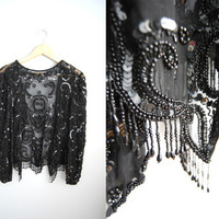 Vintage Black Sequin Beaded Tassel Top Jacket Sheer Scalloped Edges