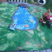 Large felt playscape with pond, river and meadow