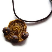 Crochet Necklace, Geometric, Cord Necklace, Brown Autumn Gold, Wooden Necklace, Africa inspired, Gift, Unisex, OOAK