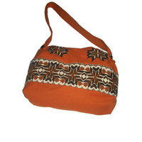 Boho Slouchy Bag, Messenger Bag, Canvas Embroidered Bag, Orange Brown Beige, Boho Oversized Bag, OOAK
