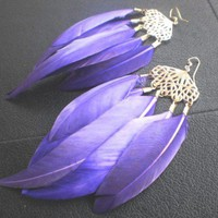 Aubrey- Royal Purple Chandelier Feather Earrings by LUXURA on Sense of Fashion