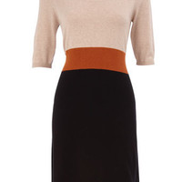 Black/oat colour block dress - View All - Dresses - Dorothy Perkins