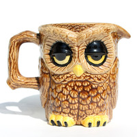 SALE 1970s Unique Double-Sided Owl Creamer or Mug
