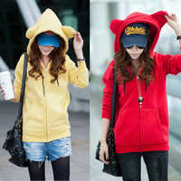 Korea Women's Girls Casual Cute Bear Ear Thicken Hoodie Fleeces Coat Outwear