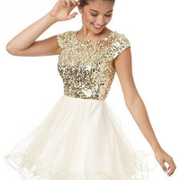 Cap Sleeve Sequin and Tulle Dress