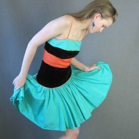 Vintage 80s Full Skirt Party Dress Orange Green Black 50s S