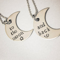 Hand Stamped Necklace Set - To the moon... and back - Stainless Steel Jewelry