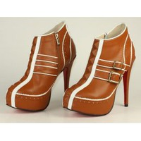 Christian Louboutin 2011 Brown Leather [2011093001] - &amp;#36;308.00 : shoesoutletus.com, shoesoutletus.com