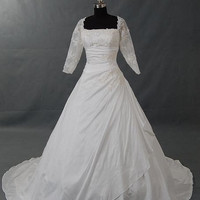 A-line Bateau 3/4 Length Sleeve Cathedral Train Taffeta Lace Wedding Dress With Applique Beading Free Shipping