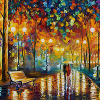 &quot;Rain Rustle - Original Oil On Canvas by Leonid Afremov&quot; by Leonid Afremov | RedBubble