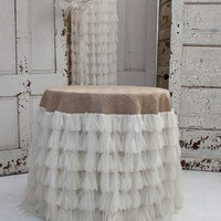Couture Dreams Chichi Ivory Petal/Natural Jute Tablecloth Ships Free