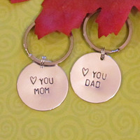 MOM DAD Keychain -- Christmas gift - Wedding Gift-- Just Because