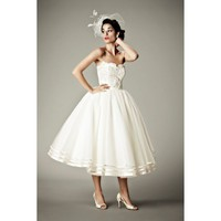 Vintage Sleeveless Tea Length Wedding Dresses - Star Bridal Apparel