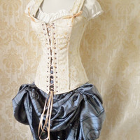 Etsy Transaction - Cream brocade overbust corset-steel boned corset in Freyja style-to fit 34-36 inch natural waist