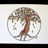 Alternative / Goth - Autumn Tree Blank Greeting Card w / envelope - Recycled Paper - IntricateKnot