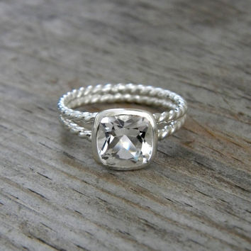 Rapunzel Ring in White Topaz and Tarnish by onegarnetgirl on Etsy