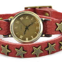 Wrap Watch with Star Studs Belt