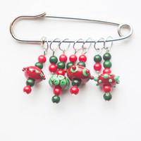 OOAK Christmas lampwork handmade glass, coral and malachite brooch