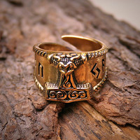 VIKING Ring  Thors HAMMER  Runic Inscription  Bronze  by Albae