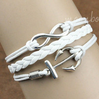 Infinity bracelet, anchor bracelet, , White braid leather bracelet, Special gift for someone you love