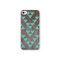 Geometric iPhone 5 Case - Plastic iPhone 5 Cover - Triangle Wood iPhone Case Tribal Southwest iPhone 5 Skin - Turquoise Brown For Him