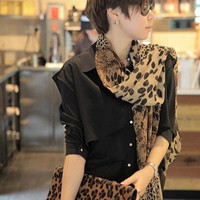 Middle Size Chic Wild Coffee Chiffon Leopard Print Scarf wholesale
