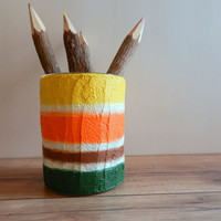 Pencil Holder / Autumn Colors / office decor  / handcrafted Desk Accessory