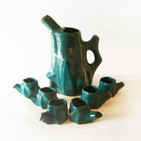 Green Ceramic Coffee Cups and Coffee Pot Set - Modern Mid Century Made in Romania