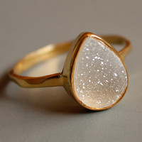 Gemstone Ring - Druzy Ring - White Agate Druzy - Teardrop Shape - Stacking Ring