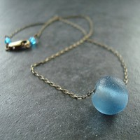 Recycled Glass Necklace Ocean Blue Recycled Glass by GlitzGlitter