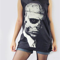 ZOMBIE BOY Rick Genest Tattoo Rico Mugler Fashion Model Tattoo Vest Women T-Shirt Sleeveless Skull Tank Top Women Shirt Black T-Shirt Size M
