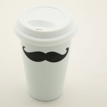 Moustache / mustache Travel Mug Double Walled by LennyMud on Etsy
