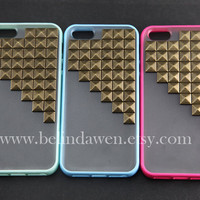 studded iphone 5 case, antique brass pyramid stud black iPhone case, mint green Frosted Translucent iphone 5 case, case for iphone 5