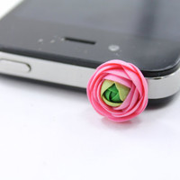 Floral Earphone Plug - iphone  Accessories, Smart phone Accessories, iPhone 5 4 4s ,iPad ,Samsung galaxy s2 s3