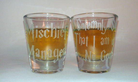 Harry Potter Mischief Managed Glass Shot From