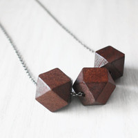 Triple Geo Hexagon Wood Statement Necklace  - faceted square geometric wooden bead on sterling silver chain - minimalist jewelry