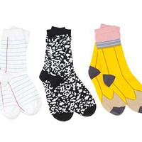 BACK TO SCHOOL SOCKS | Pencil, Paper, Composition Notebook, School Supplies | UncommonGoods