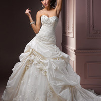 Ivory Gathered Taffeta Embellished Floral Strapless Sweetheart Decadence Wedding Gown - Unique Vintage - Bridesmaid &amp; Wedding Dresses