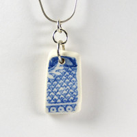 Beach Pottery Necklace Blue and White