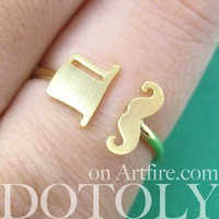 Adjustable Simple Mustache Moustache and Top Hat Ring in Gold