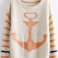 Stripes &amp; Anchor Print Sweater