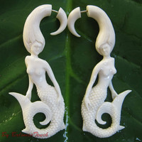 "White Organic Bone Earrings, Fake Gauge Cheater Earrings of ""Lady Mermaid"""