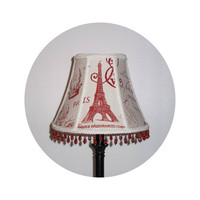 Red French Stamp fabric - Lamp Shade
