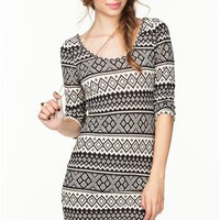 A'GACI Fair Isle 2 Tone Bodycon Dress - DRESSES